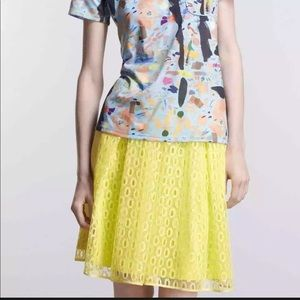Maeve   Anthro   Yellow Lace Lawn Party Skirt